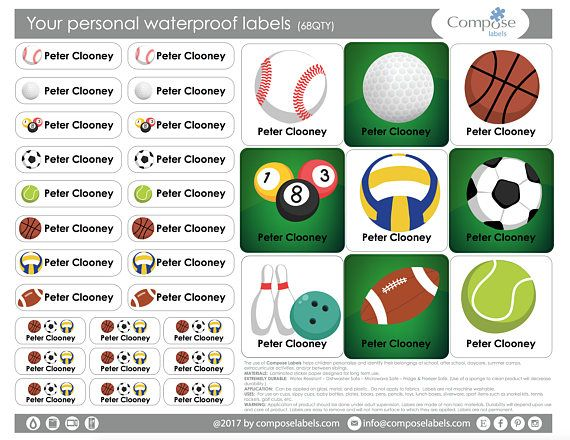 BALL SPORT  Your personal waterproof labels 68 Qty Free