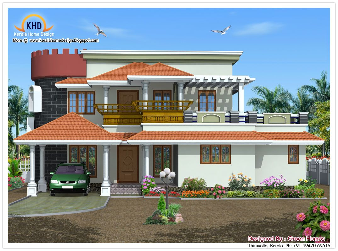 Front Elevation Of Villas In Kerala : Elevation kerala style houses house architecture my