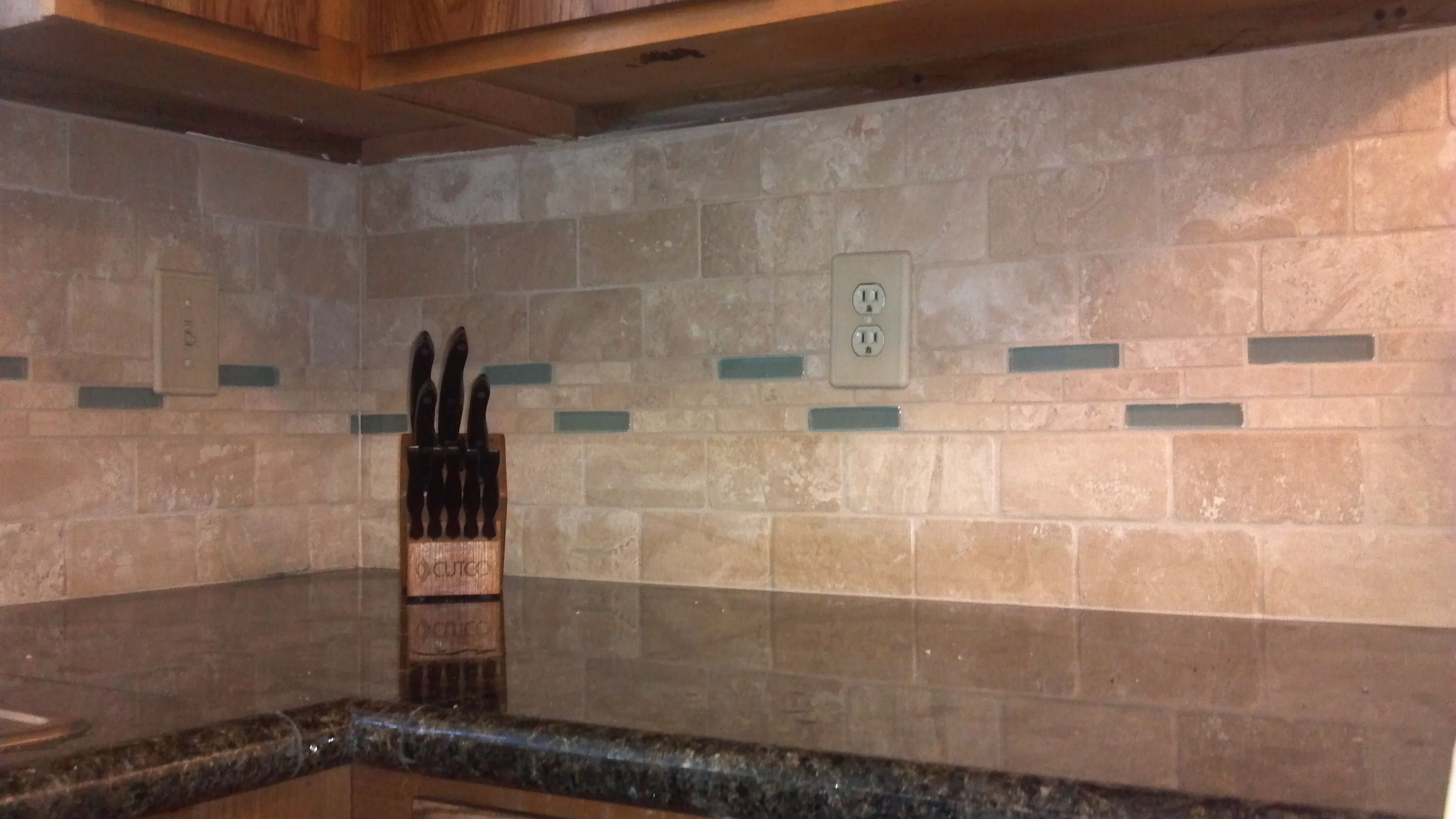 Tile backsplash and glass and travertine tile for Travertine tile designs