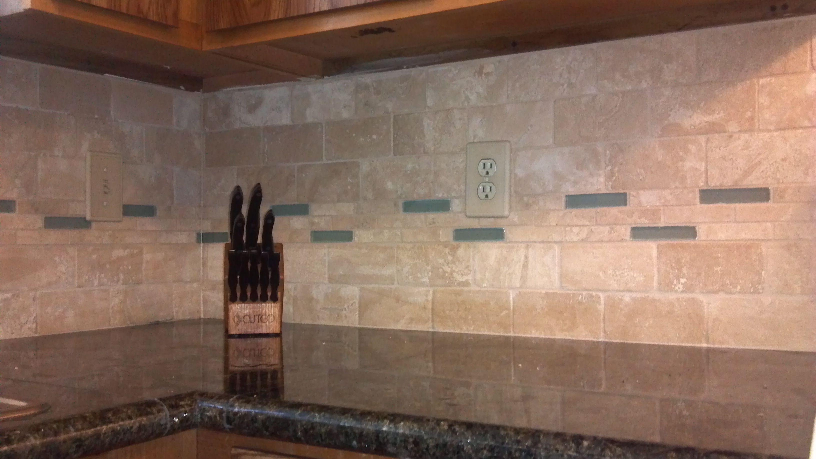 Tile Backsplash AND Glass AND Travertine