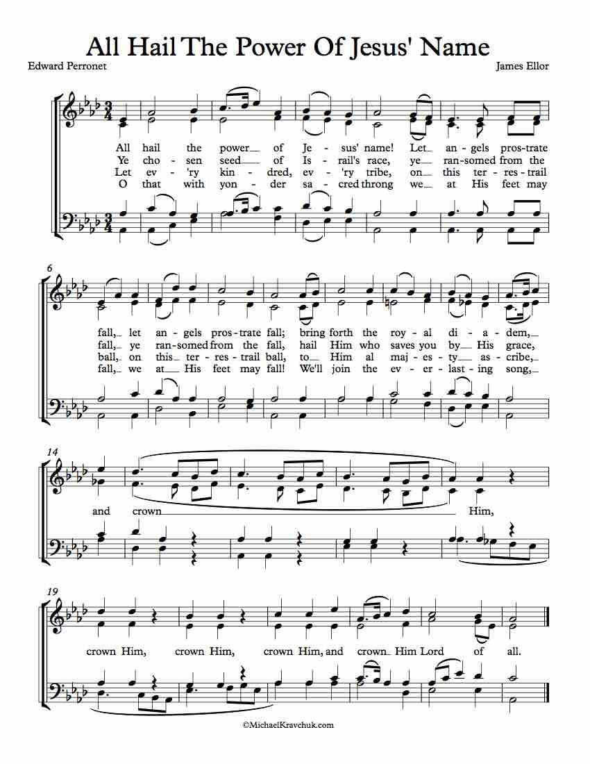 Free Choir Sheet Music All Hail The Power Of Jesus Name Diadem