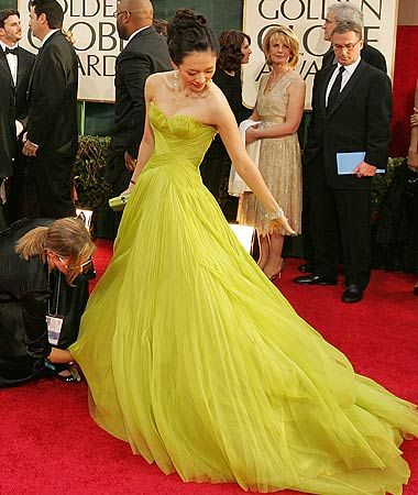 Chartreuse Armani Gown worn by Ziyi Zhang