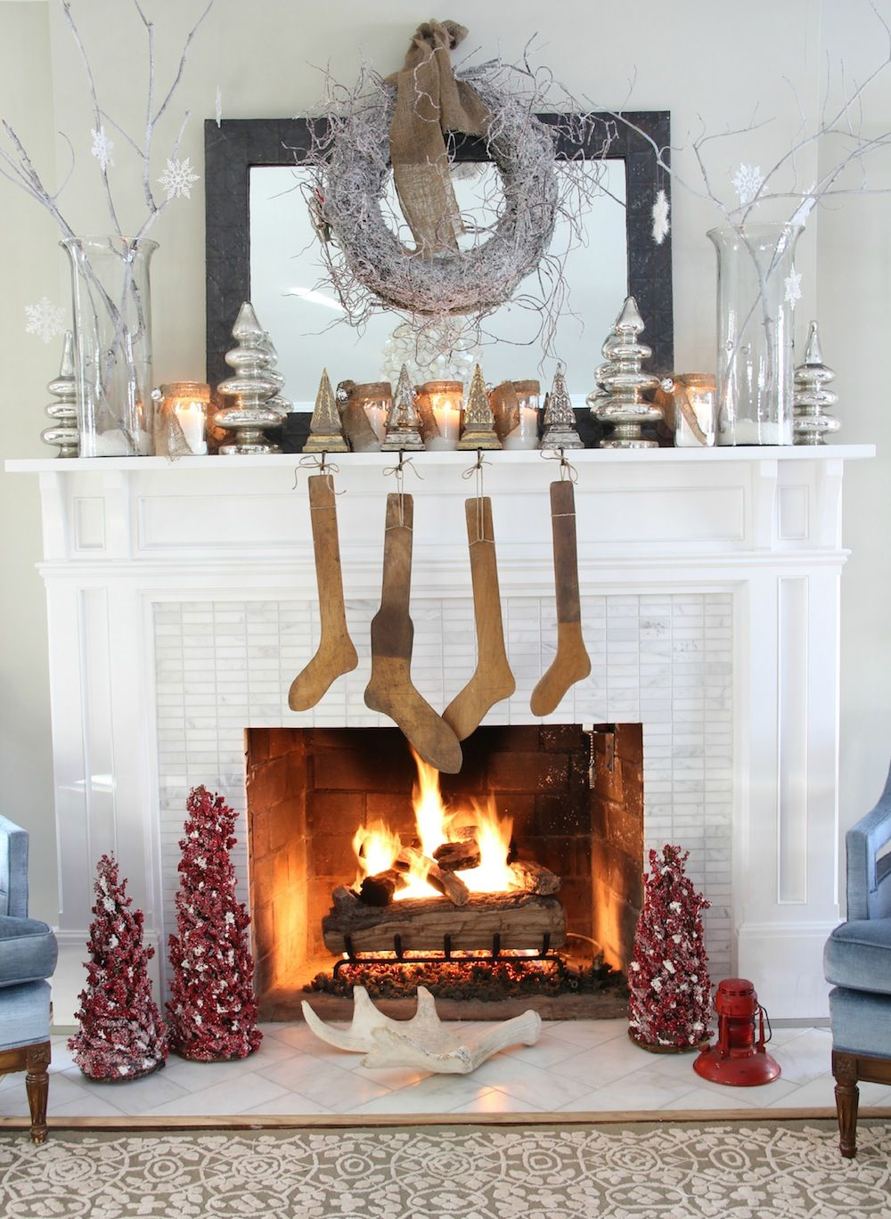 Large white christmas ornaments - Retro Ideas Decoration Christmas Having White Walls Fireplace Hanging Brown Classical Socks And Cool Silver Ornaments