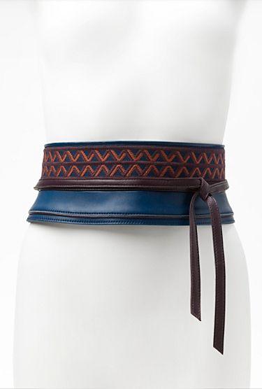 Geometric Print Obi Belt in ultramarine. $245
