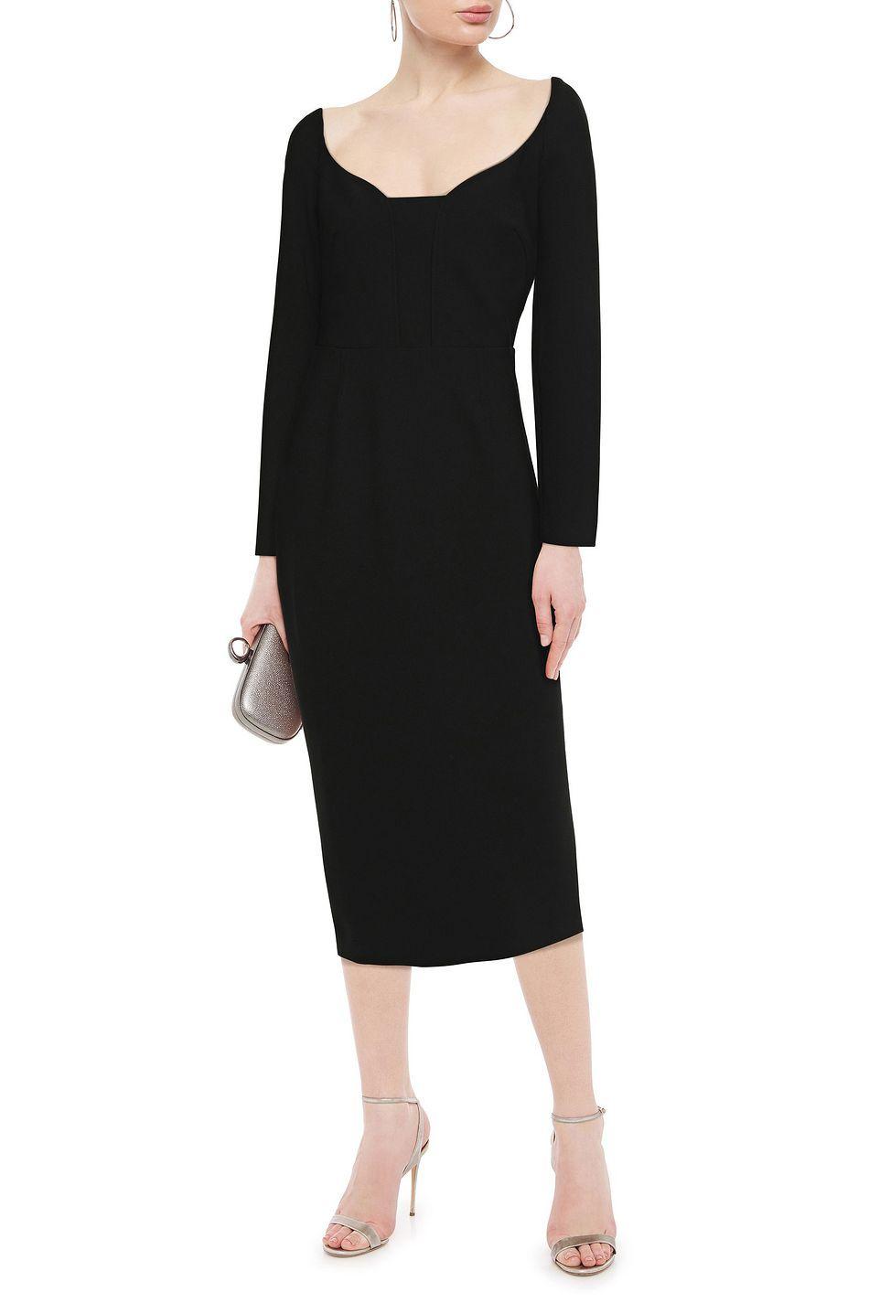 Black Ardon Stretch Crepe Midi Dress Sale Up To 70 Off The Outnet Roland Mouret Midi Dress Sale Beach Wear Outfits Beachwear Fashion [ 1425 x 950 Pixel ]