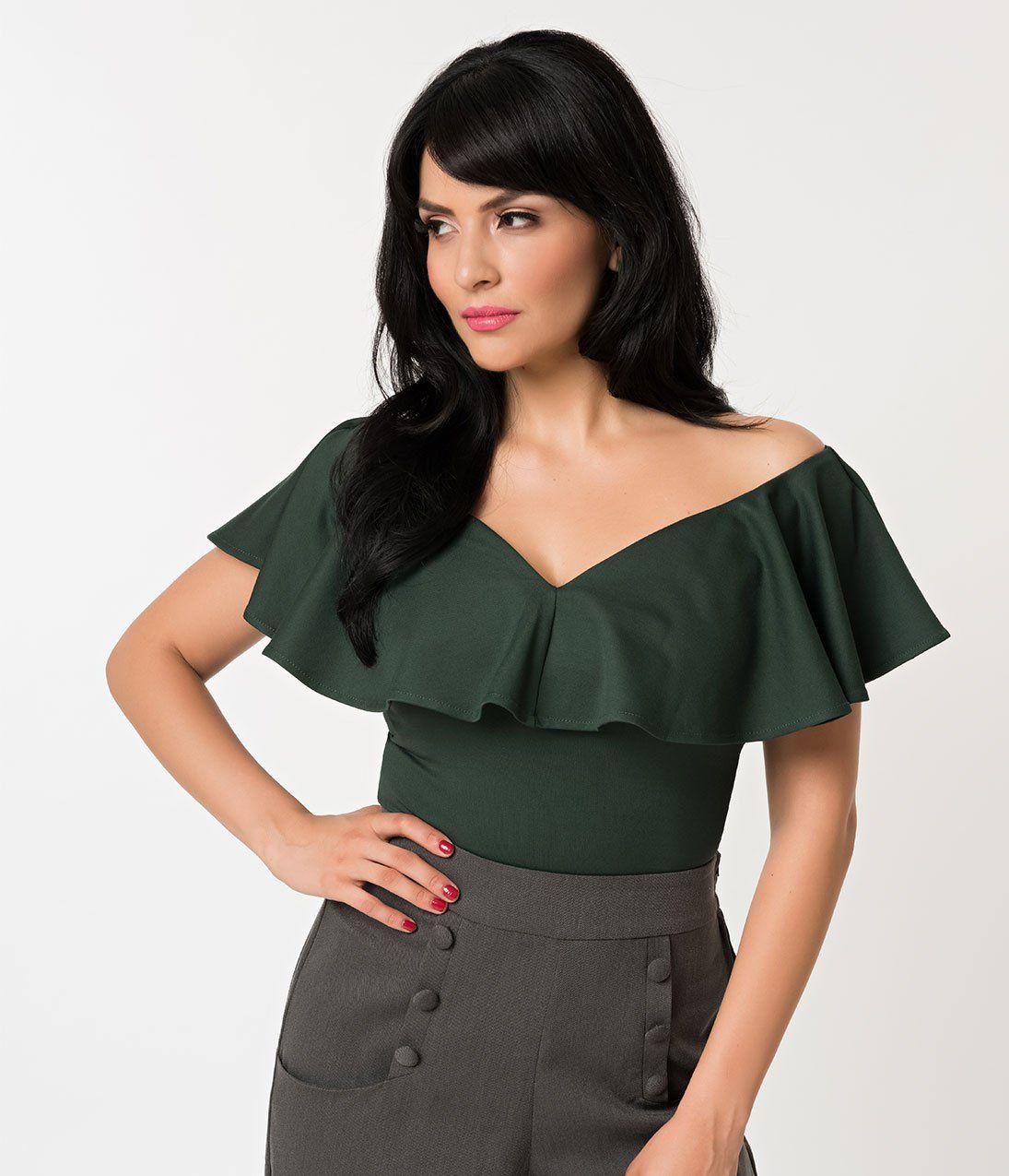 33036d627f7e Unique Vintage 1950s Emerald Green Off Shoulder Ruffle Frenchie Knit T