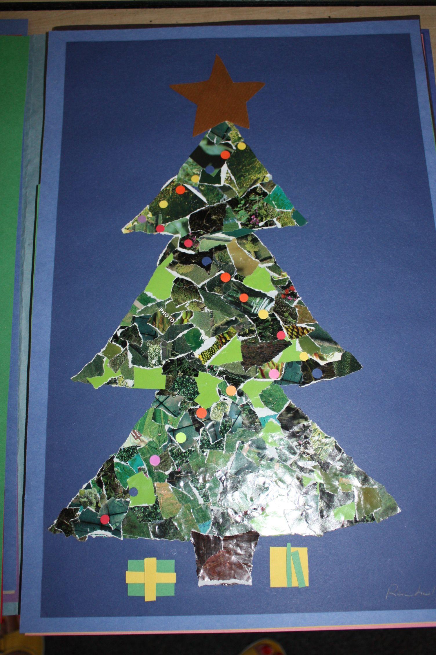 magazine collage Christmas trees - grade 2 | Preschool Arts (and ...