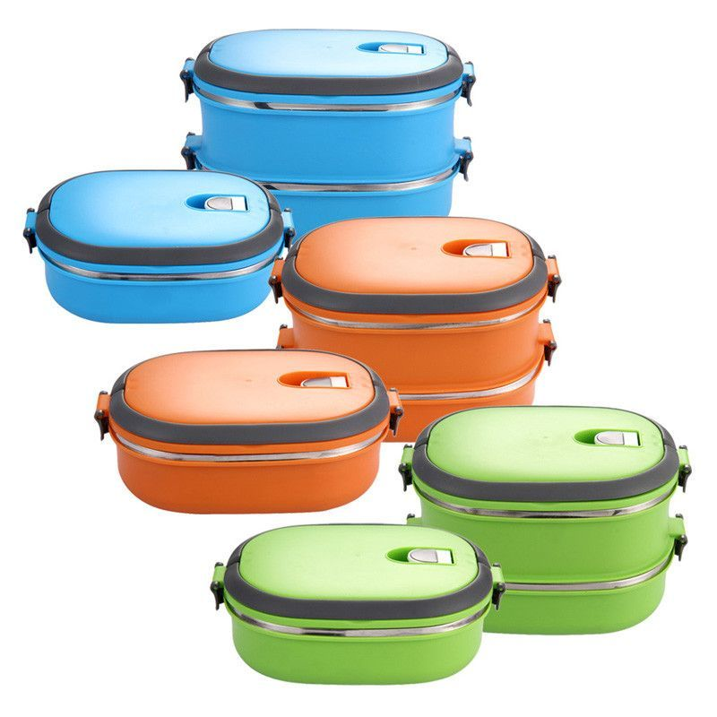 Stainless Steel Thermal Insulated Portable Lunch Box Bento Food