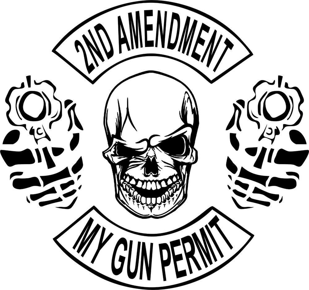 Details About Nd Amendment Skull Gun Permit Control Car Truck - Custom vinyl decals for trucks