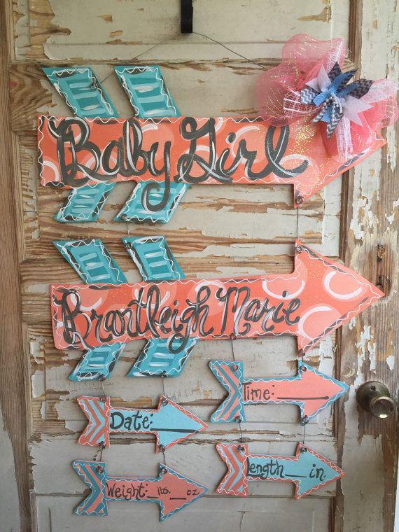 Baby Girl Arrow Birth Announcement Hospital Door Hanger