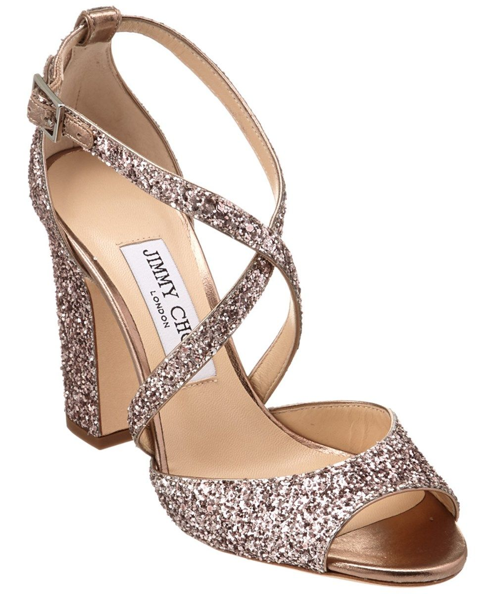 567779f1f845 JIMMY CHOO Jimmy Choo Carrie 100 Metallic Coarse Glitter Fabric Peep Toe  Sandal'. #jimmychoo #shoes #sandals