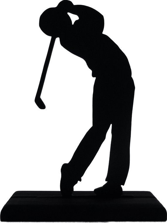 Male Golfer At End Of Swing Handmade Display Wood Silhouette