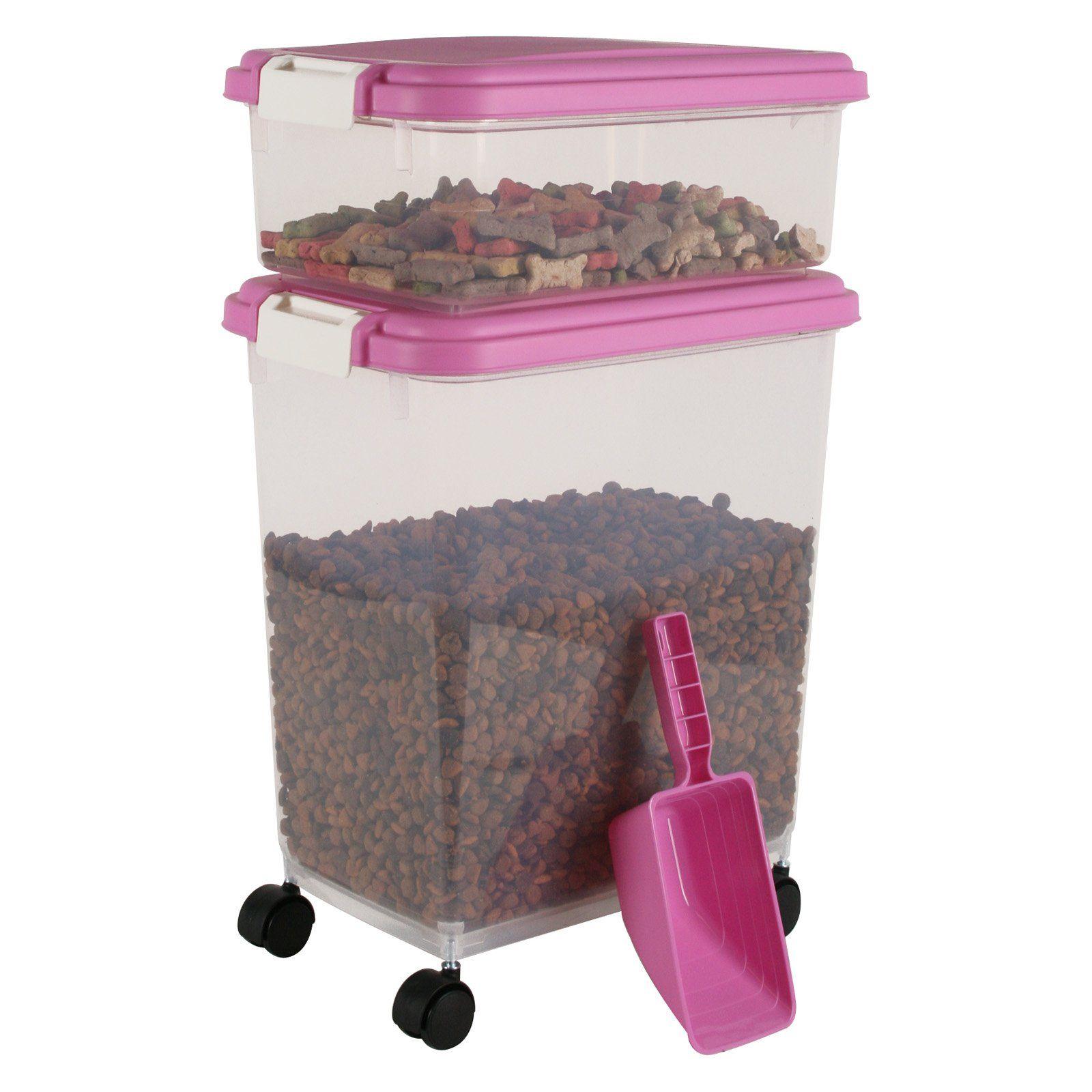 Iris 3pc Airtight Pet Food Container Combo Pink Pet Food