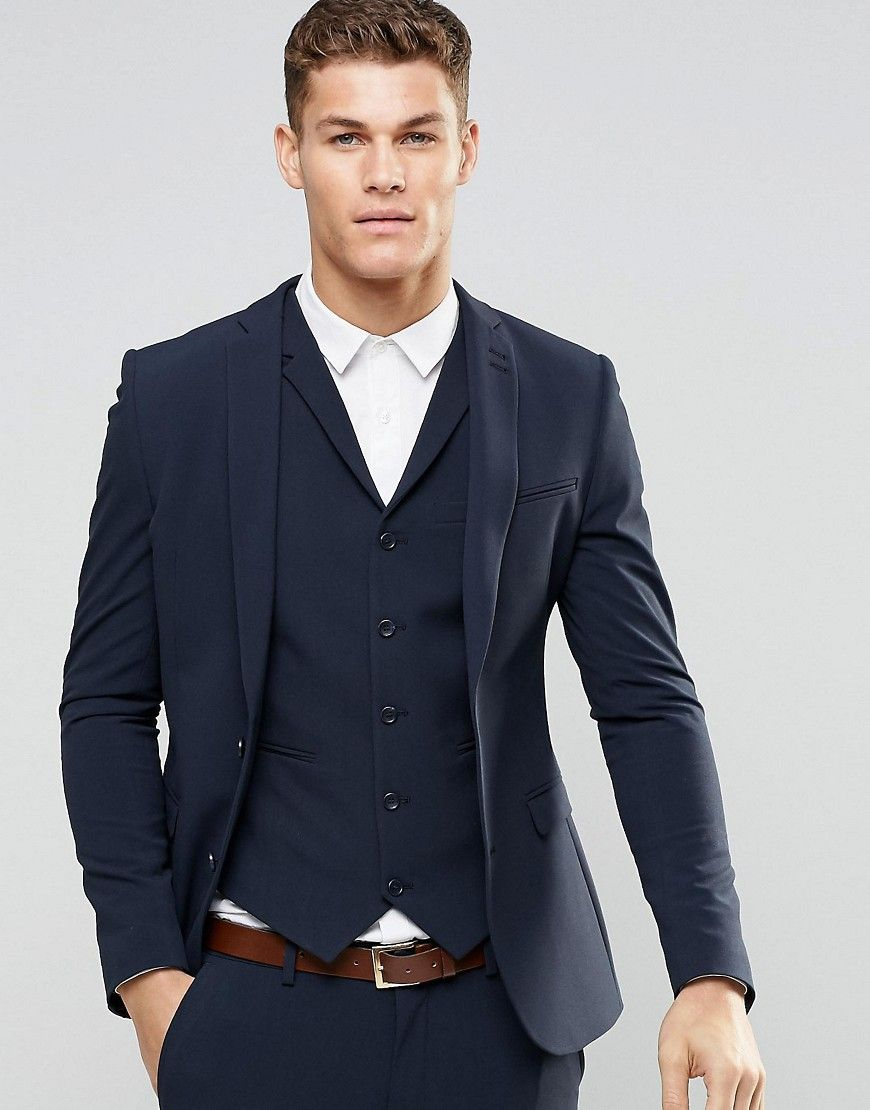7b90fa0c26ef Super Skinny Fit Suit Jacket In Navy in 2019   Church and State ...