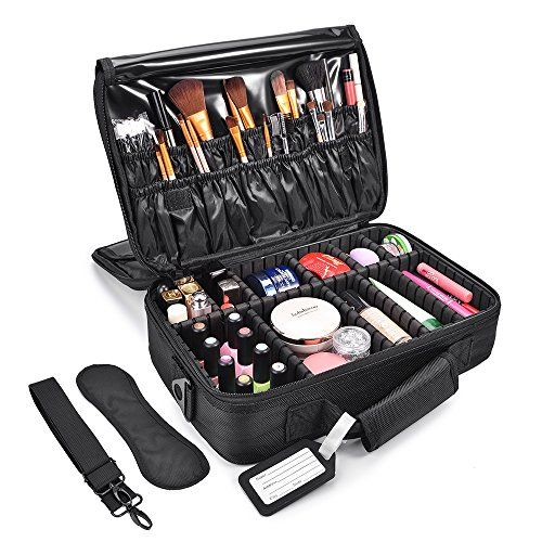 efe5a1459a53 MelodySusie Makeup train case 3 Layers Waterproof Travel Makeup Bag Cosmetic  Organizer Kit Artist Storage Case Brush Holder with Adjustable Divider   ...