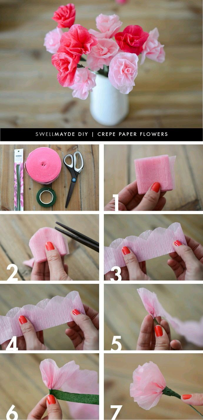 DIY Tissue Paper Flower and wr   Flores hechas a mano  Pinterest