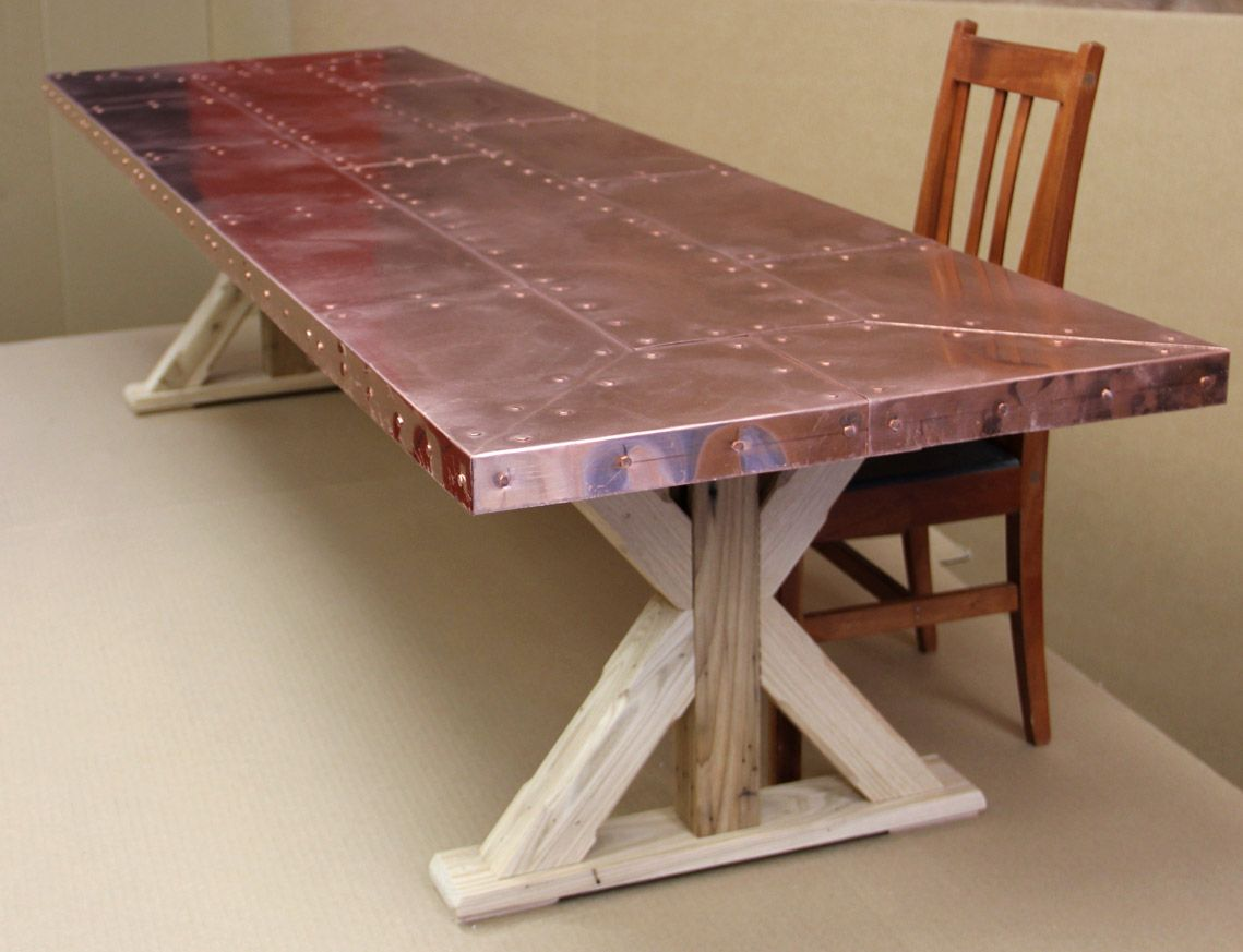 A Little More Detail Copper Top Table Claro Walnut Table