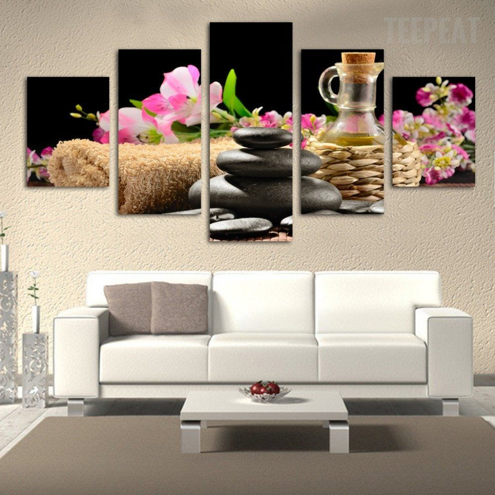 Spa Flower and Stone Painting 5 Piece Canvas Wall