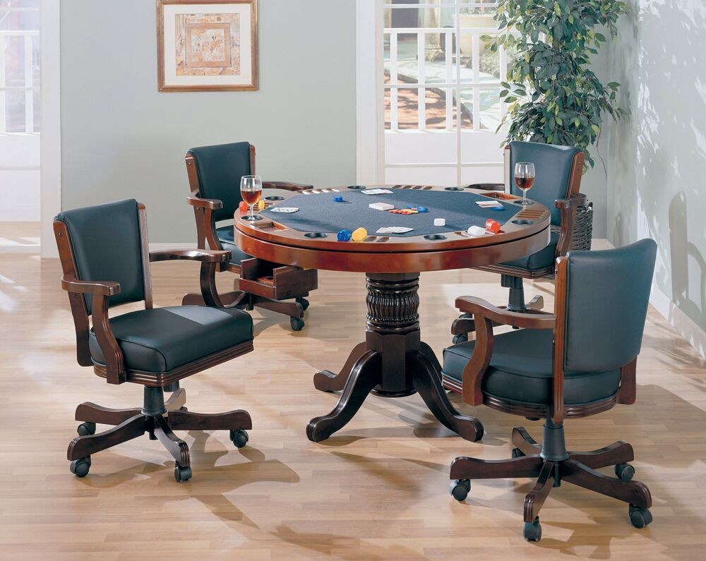 100201 02 5 Pc Wildon Home Norwich Mitchell Man Cave Cherry Finish Game Room Table Set Poker Bumper Pool Dining Table Game Room Tables Bumper Pool Pool Table Dining Table