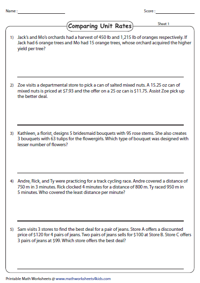 Unit Rate Word Problems Comparing Unit Rates Unit Rate Worksheet Unit Rate Word Problem Worksheets