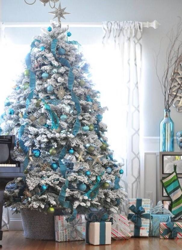 pretty christmas tree turquoise and gray - Frozen Christmas Tree Ornaments