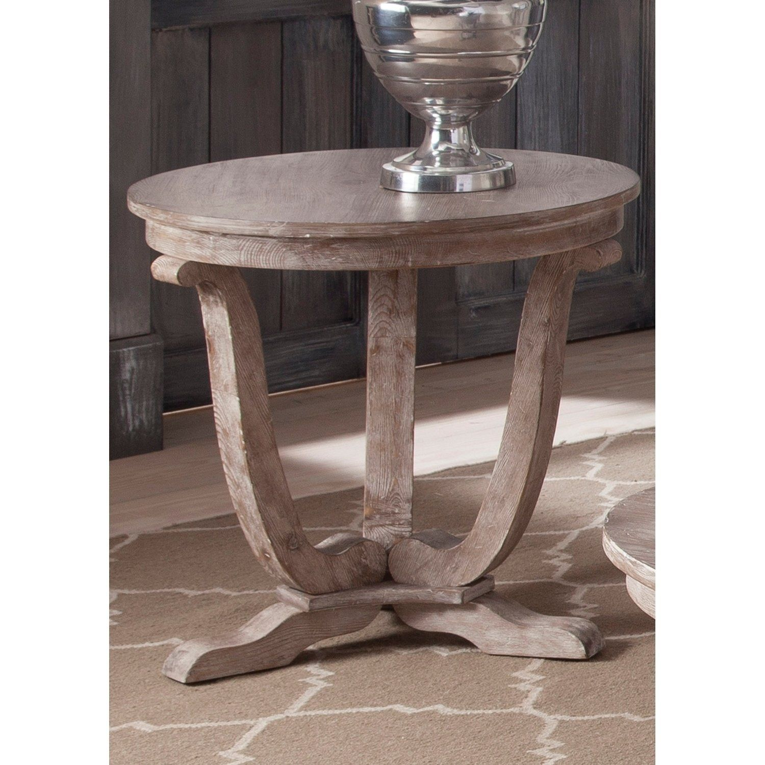 Maison Rouge Hamilton Stone White Wash End Table Greystone Mill Washed Round Brown