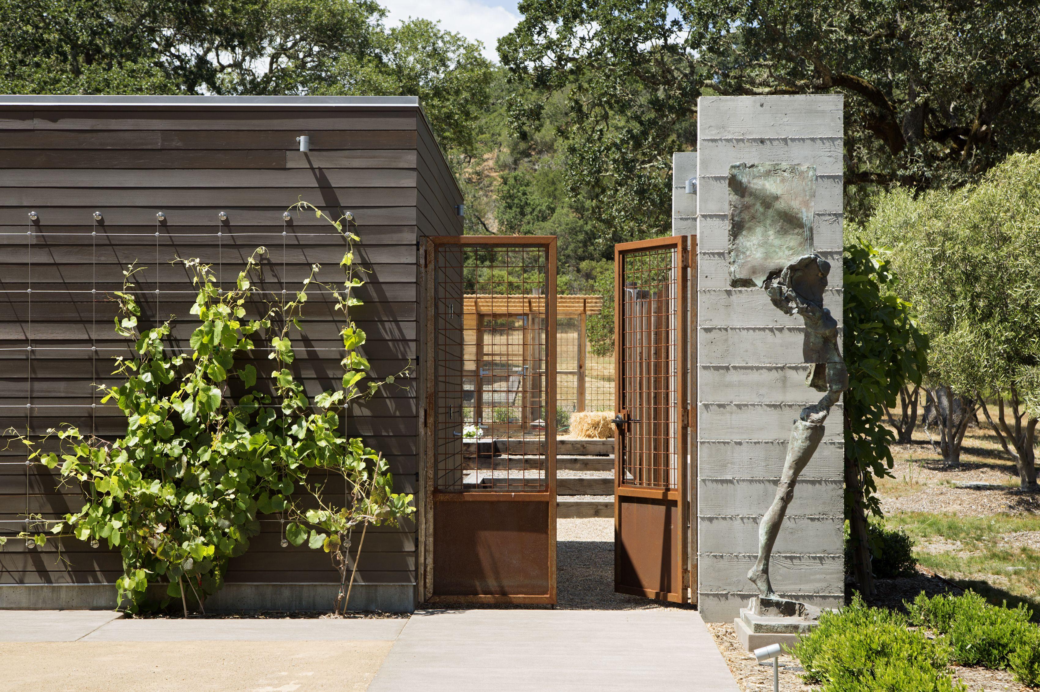 Corten Steel Gate With Wire Board Formed Concrete Horizontal Wood Siding Opening To Garden Sonoma Residenc Steel Siding Board Formed Concrete Corten Steel