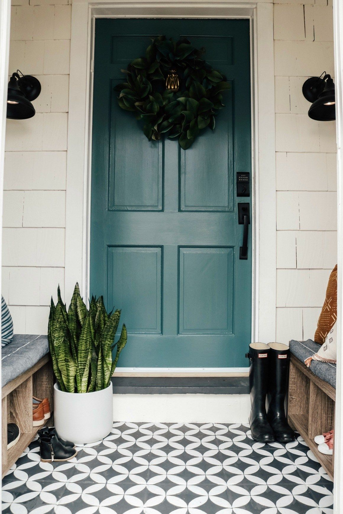 Weekend Entry Makeover With Painted Cement Tile Exterior Tiles Painted Cement Floors Entry Tile