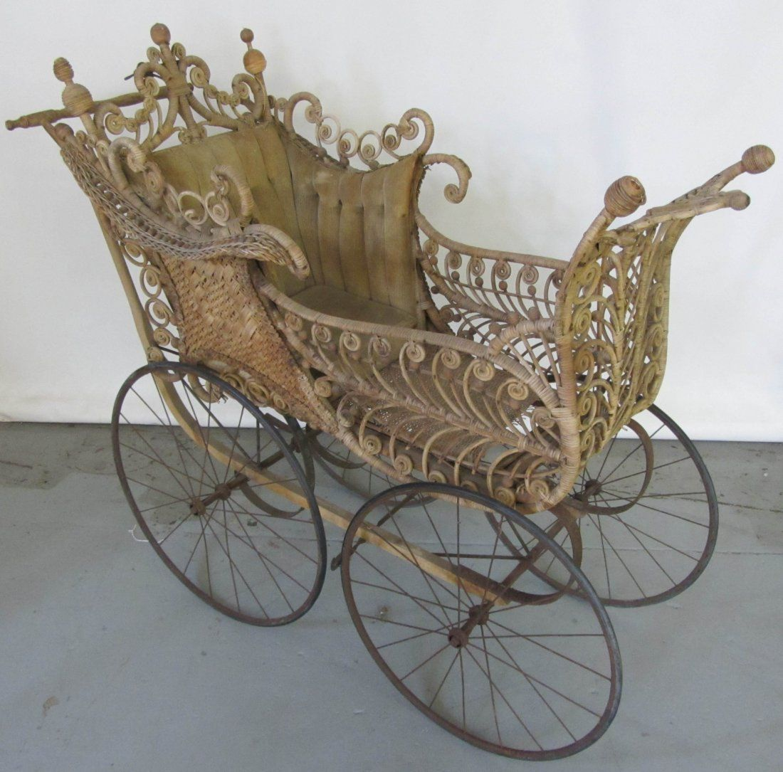 Antique Cradles and Old fashioned bassinet stroller