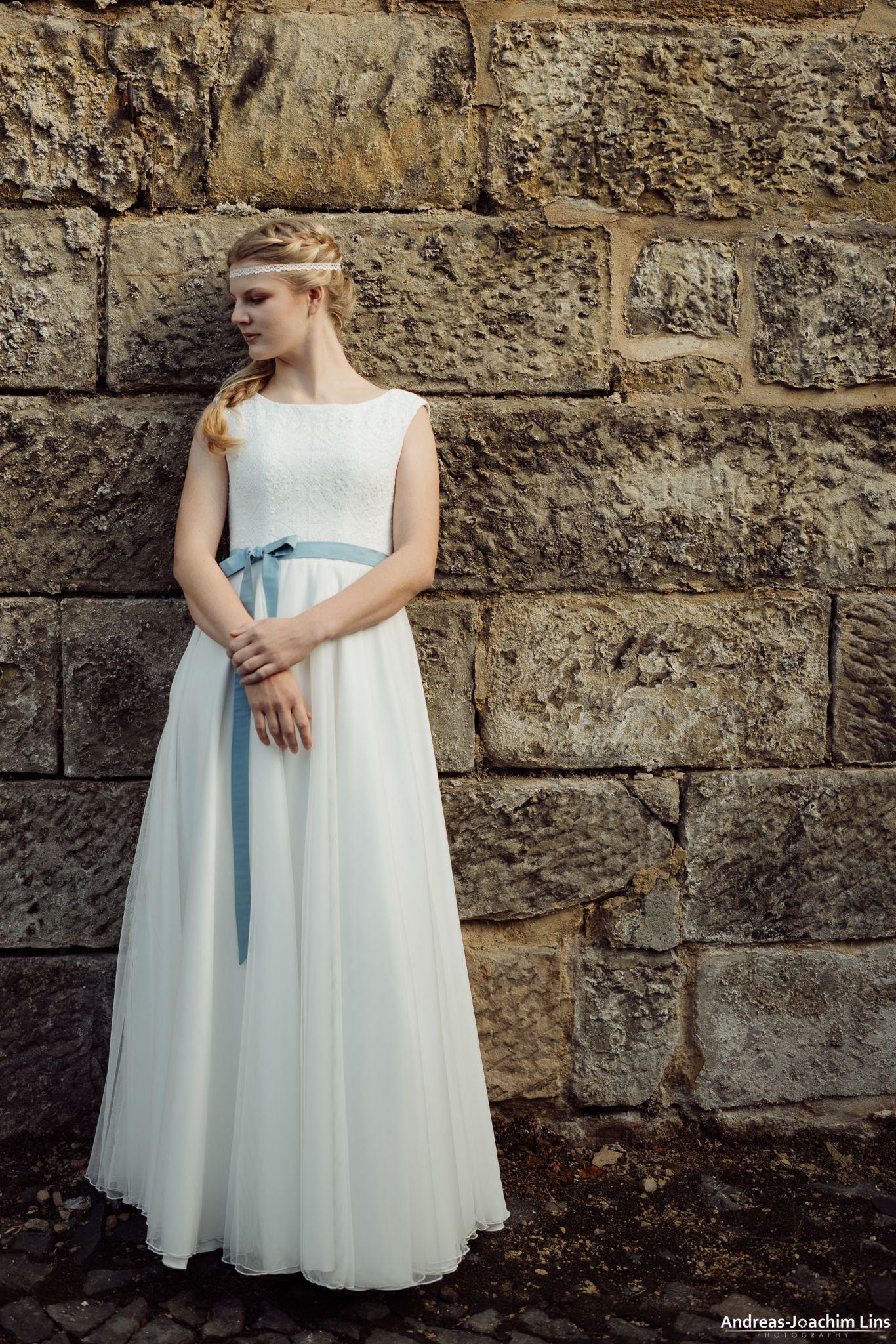 """Masa"""" - hochgeschlossenes Hochzeitskleid mit Häkelspitze ❤️ Boho"""