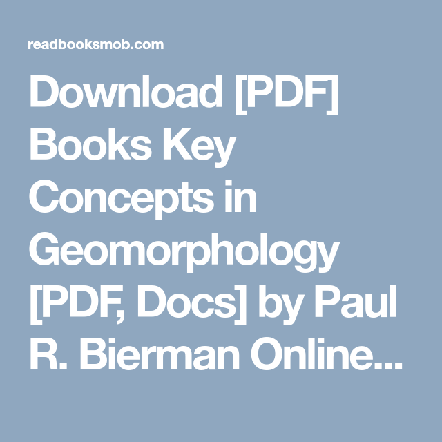 Geomorphology Books Pdf