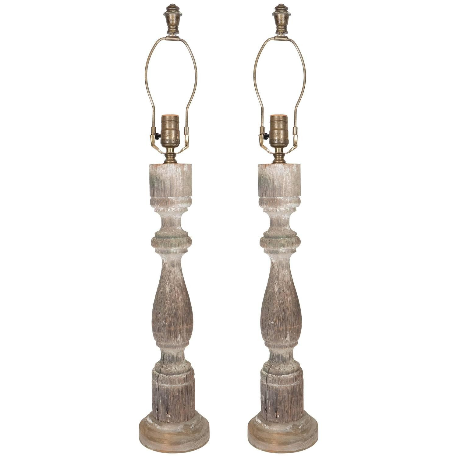 Best Weathered Pair Of Antique Wood Balusters Converted To 400 x 300