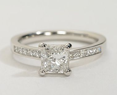 real engagement rings under 5000 channel set princess cut diamond engagement ring in 14k white - 5000 Wedding Ring