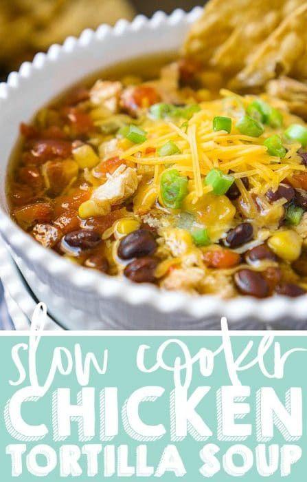 Easy Slow Cooker Chicken Tortilla Soup #chickentortillasoup