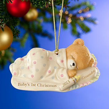 LENOX Ornaments: Personalized - Baby's 1st Cuddles & Hugs Christmas Bear  Ornament - LENOX Ornaments: Personalized - Baby's 1st Cuddles & Hugs Christmas