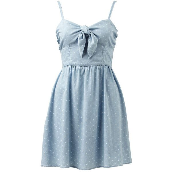 Torquay Spot Print Tie Front Dress (175 BRL) ❤ liked on Polyvore featuring dresses, vestidos, short dresses, robe, short blue dresses, blue polka dot dress, forever new dresses, blue dress and dot dress