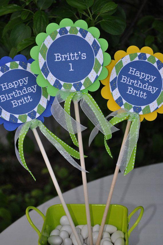 Boys 1st Birthday Centerpiece Decorations With Ribbon Golf Birthday