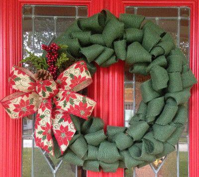decoraciones de navidad con cinta de arpillera o tela de yute la