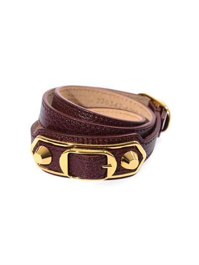 Studded leather wrap-around bracelet | Balenciaga | MATCHESFAS...