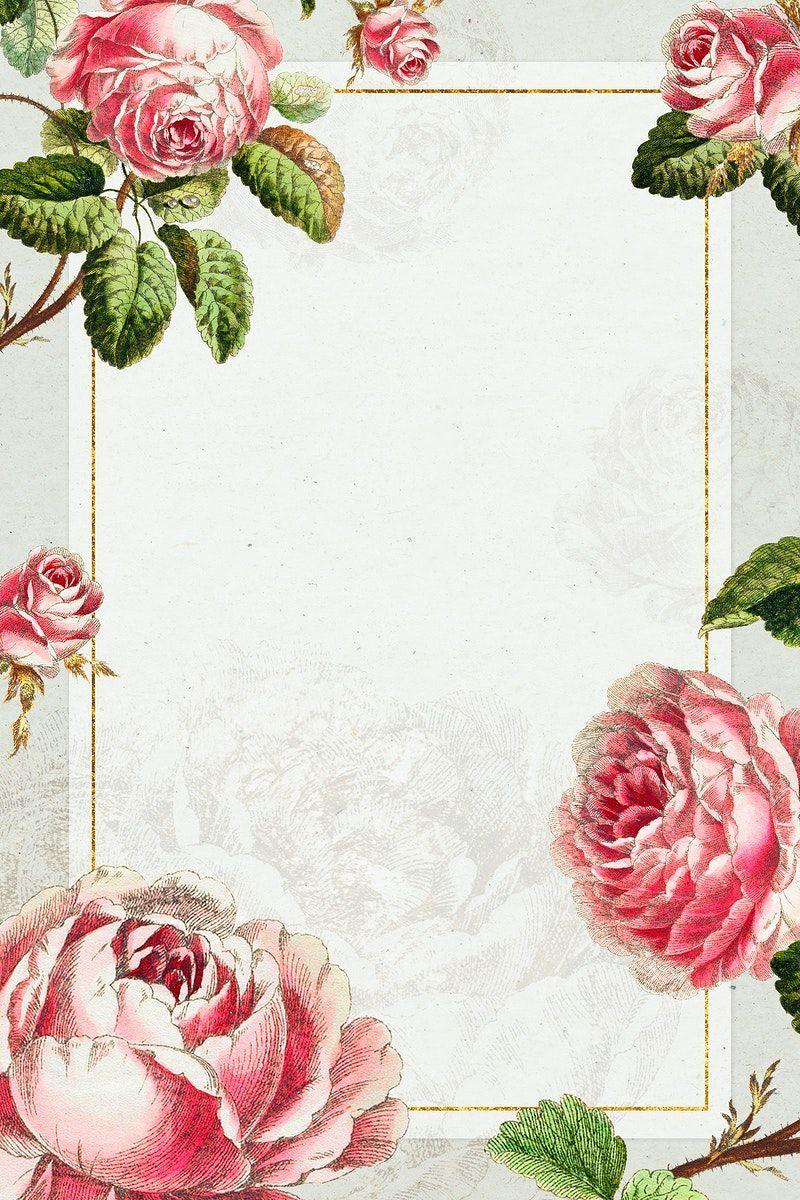 Download Premium Illustration Of Vintage Pink Rose Flower Frame Design In 2020 Flower Frame Frame Design Pink Rose Flower