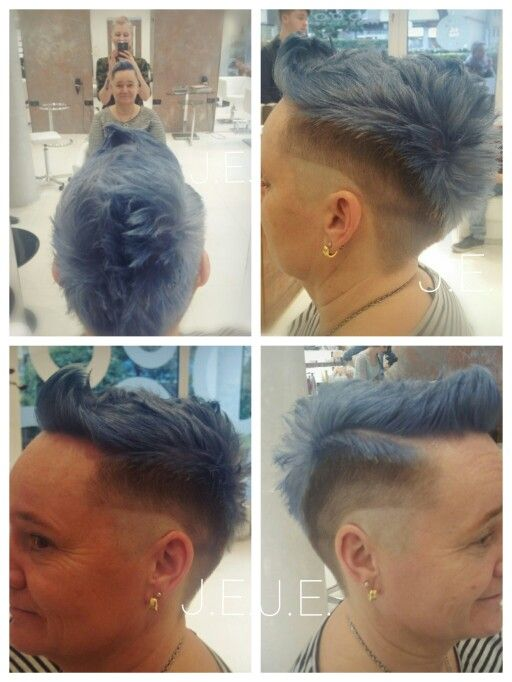Kurze haare grau blau