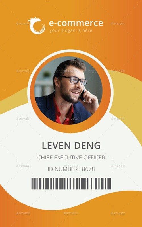 Set of 5 Office ID Card PSD Mockups | Name card design, Id ...