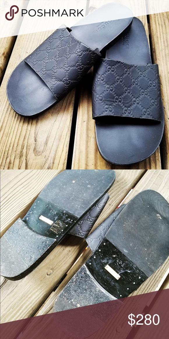 4017bb617f0df1 Men s Leather Gucci Slides Men s Gucci Monogram leather Slides. 100%  authentic. All black