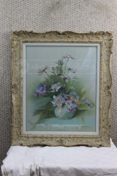 Shopgoodwill 29555876 Framed Drawing Of Vase Of Flowers 5