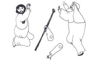 Moses And Amalekites Cartoon With Images Exodus Bible Sunday