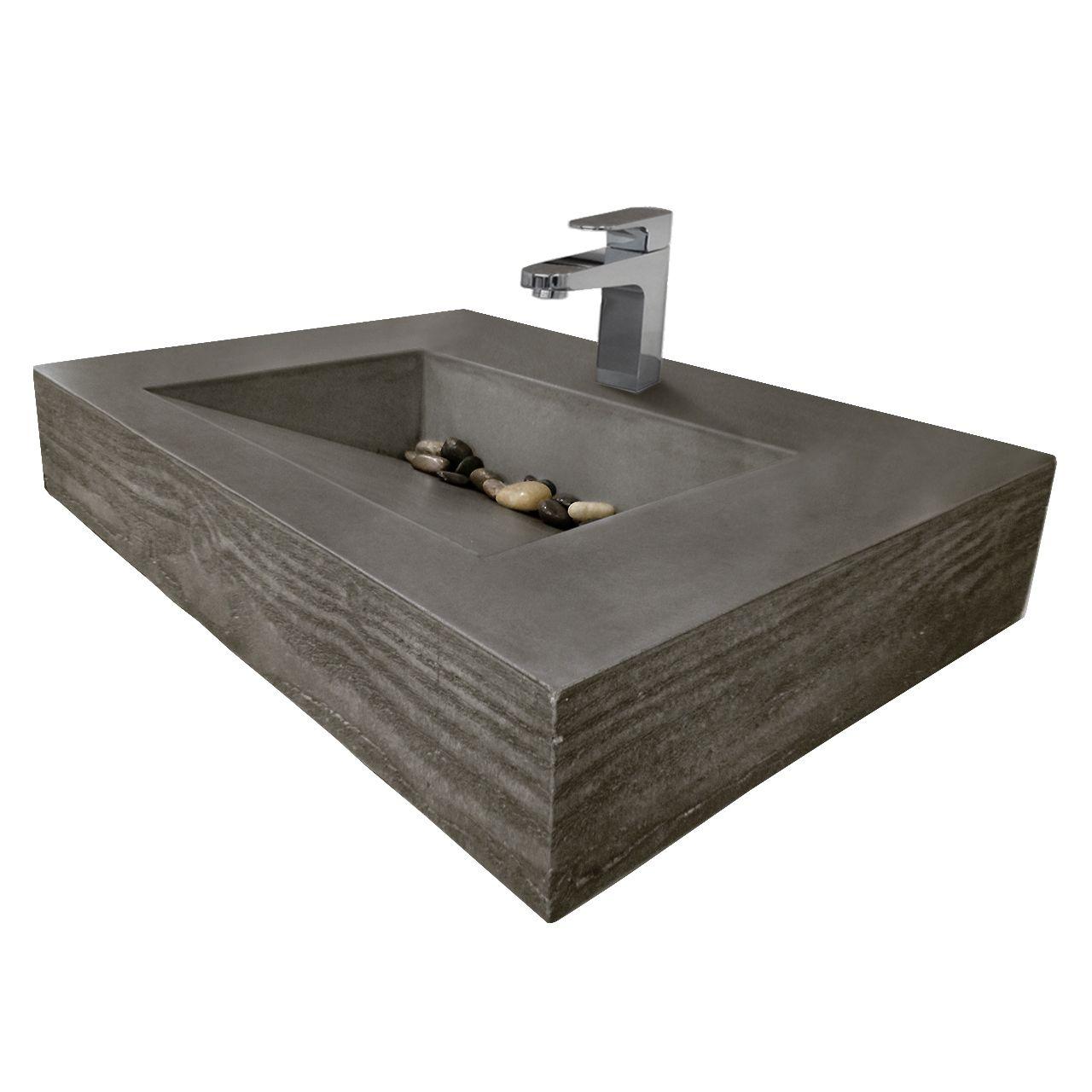 30 Quot Ada Floating Concrete Ramp Sink Wood Grain Edge Bath