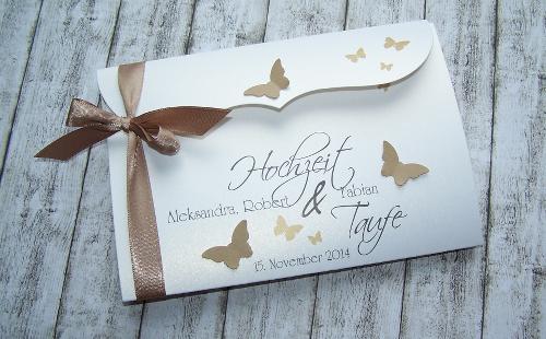Einladung Zur Hochzeit Und Taufe Bogenkarte Nougat Gross  Www.kartenmanufaktur Arndt.de