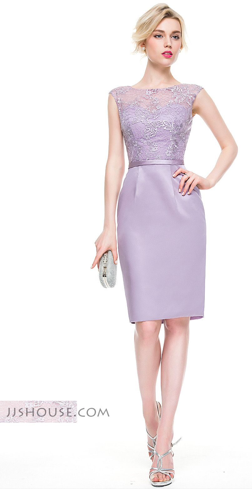 Sheath/Column Scoop Neck Knee-Length Satin Lace Cocktail Dress ...