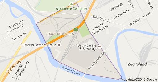Rouge River Michigan Map.Map Of Carbon Works Detroit Mi 48209 Detroit Mi Detroit