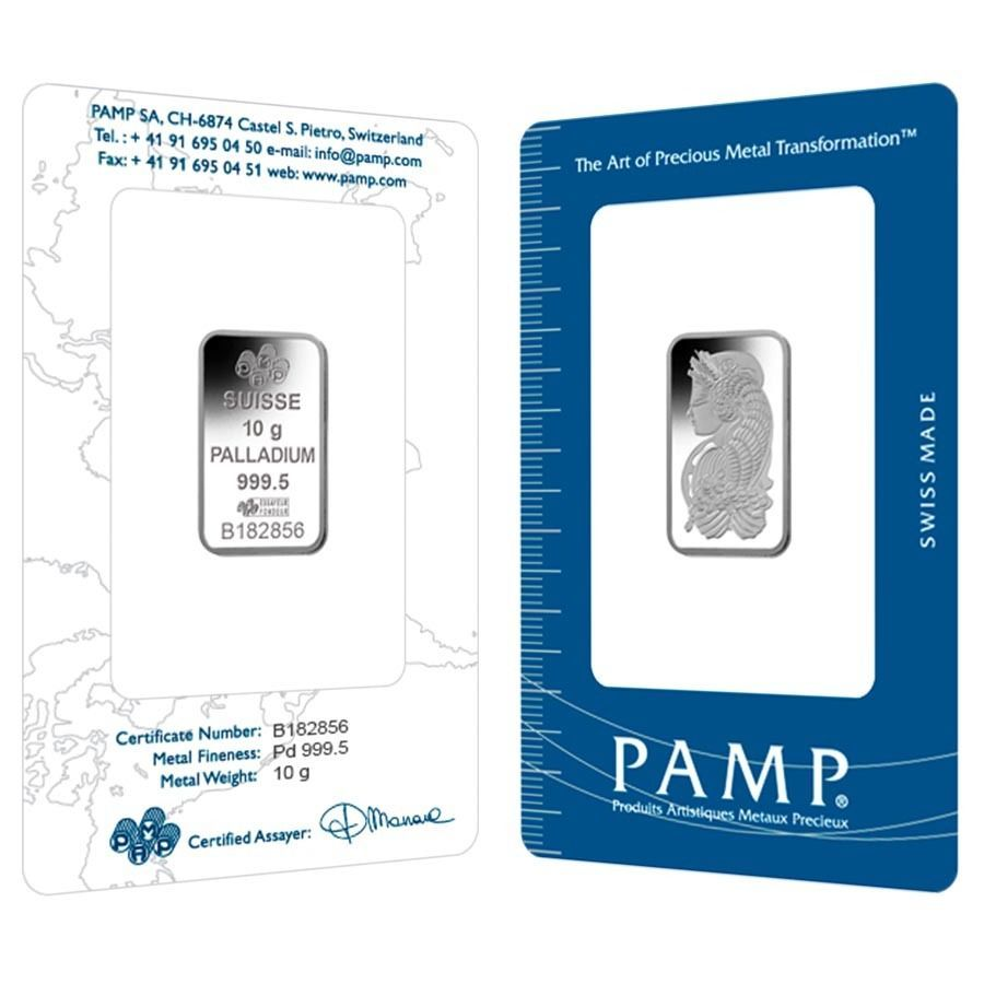 10 Gram Pamp Suisse Palladium Bar 9995 Fine In Assay Silver Bars Palladium 10 Things